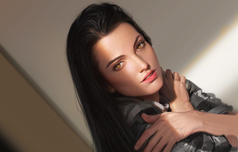 Фото обои взгляд, девушка, волосы, руки, арт