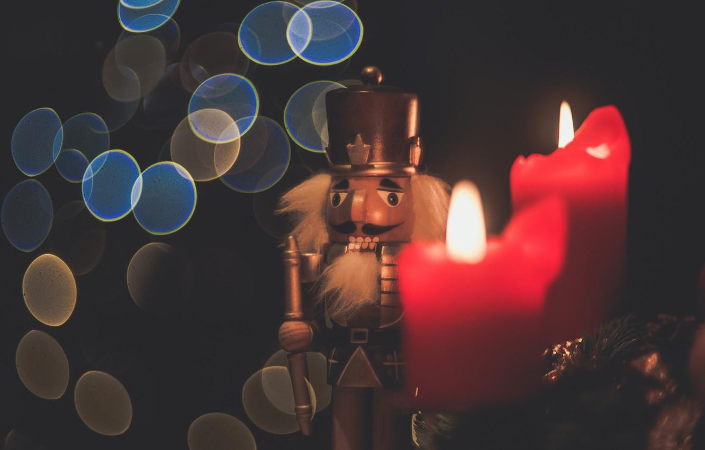 Фото обои игрушка, свеча, ёлка