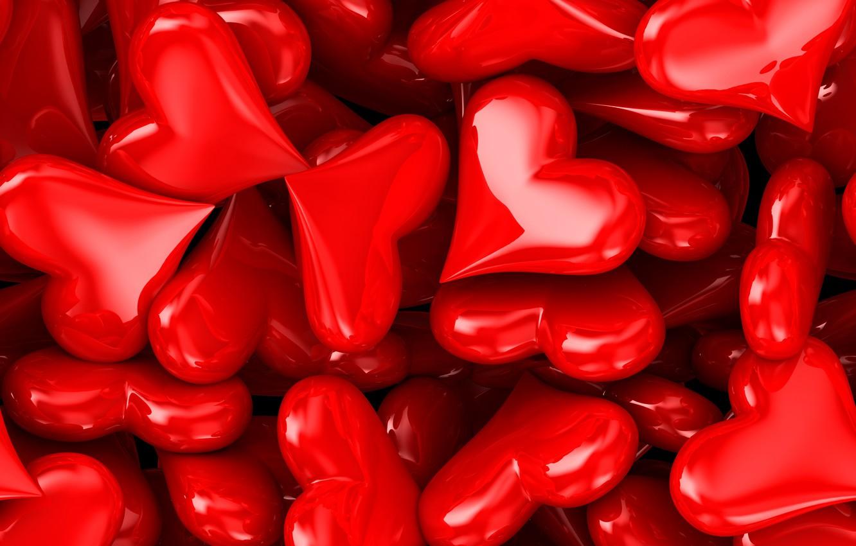 Фото обои сердца, сердечки, красные, День святого Валентина, много, 3D графика