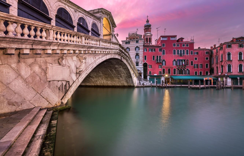 Фото обои Италия, Венеция, канал, Italy, sunset, Venice, Panorama, channel, Grand Canal, Rialto Bridge, San Bartolomeo Church