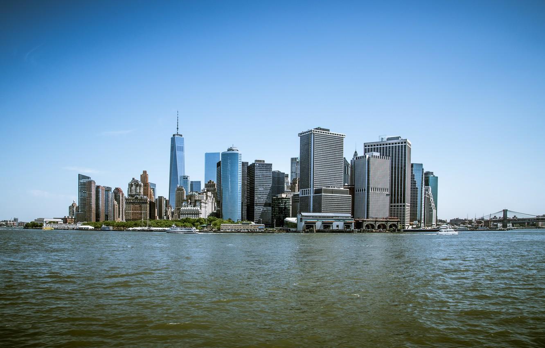 Фото обои Море, Нью-Йорк, Манхеттен, Здания, City, USA, США, New York, Manhattan, Sea, Buildings