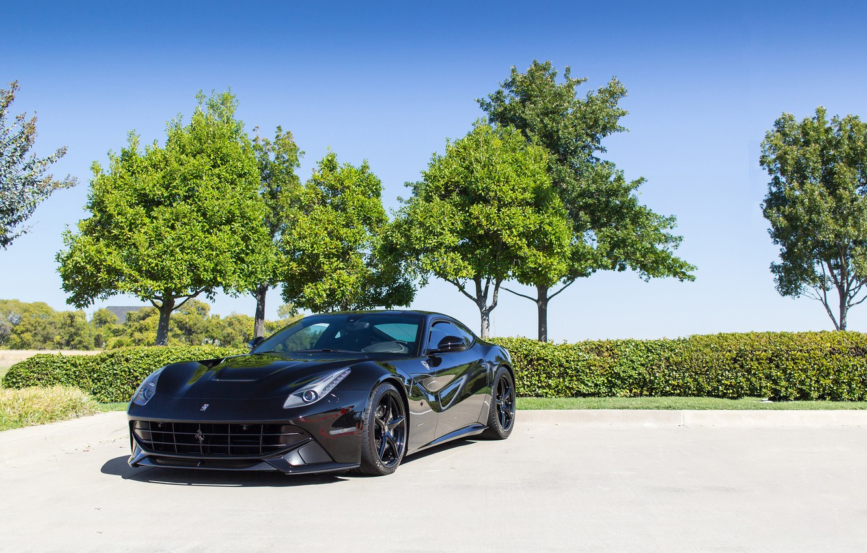 Фото обои Ferrari, Black, Berlinetta, F12, Trees