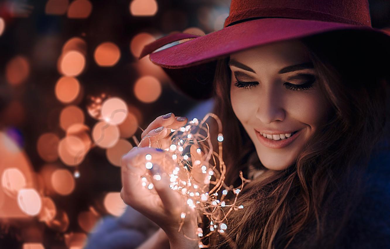 Обои шляпа, девушка, улыбка. Разное foto 10