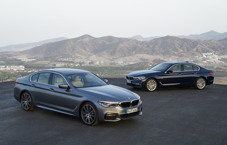 Фото обои серый, BMW, xDrive, 540i, 530d, Luxury Line, 5er, M Sport, тёмно-синий, 2017, 5-series, G30, седаны, …