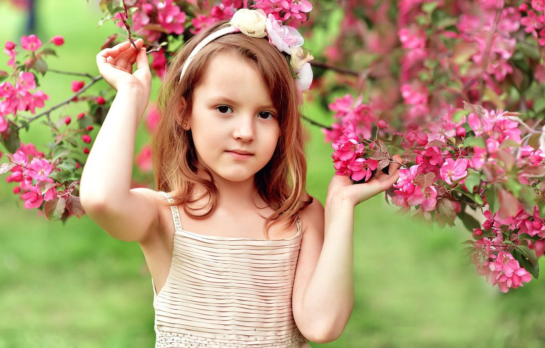 Фото обои цветы, дерево, весна, девочка