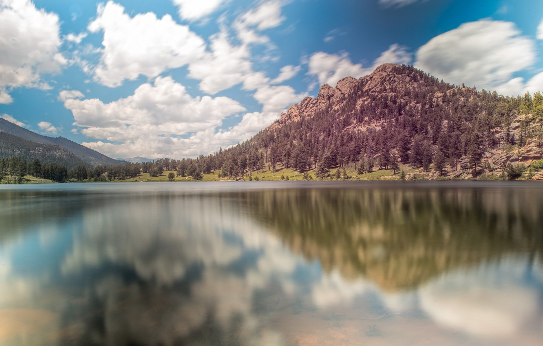 Фото обои облака, озеро, гора