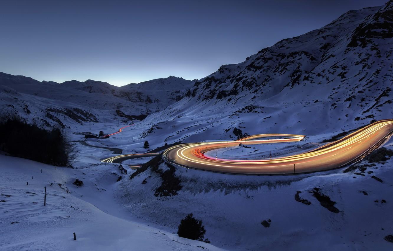 Фото обои зима, дорога, ночь, огни