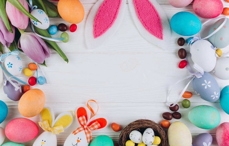 Фото обои цветы, яйца, colorful, Пасха, тюльпаны, wood, pink, flowers, tulips, spring, Easter, eggs, violet, decoration, Happy, …