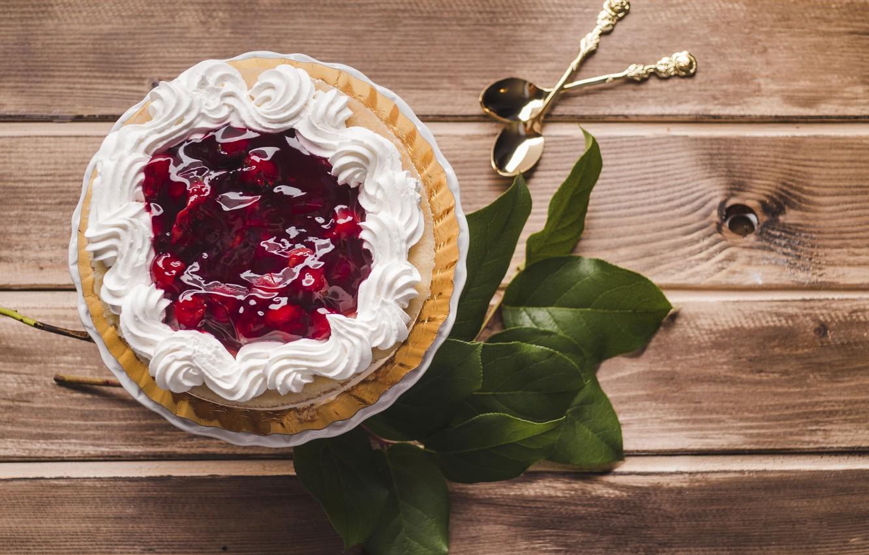 Фото обои торт, cake, крем, десерт, wood, leaves, sweet, cherry, jam, mousse