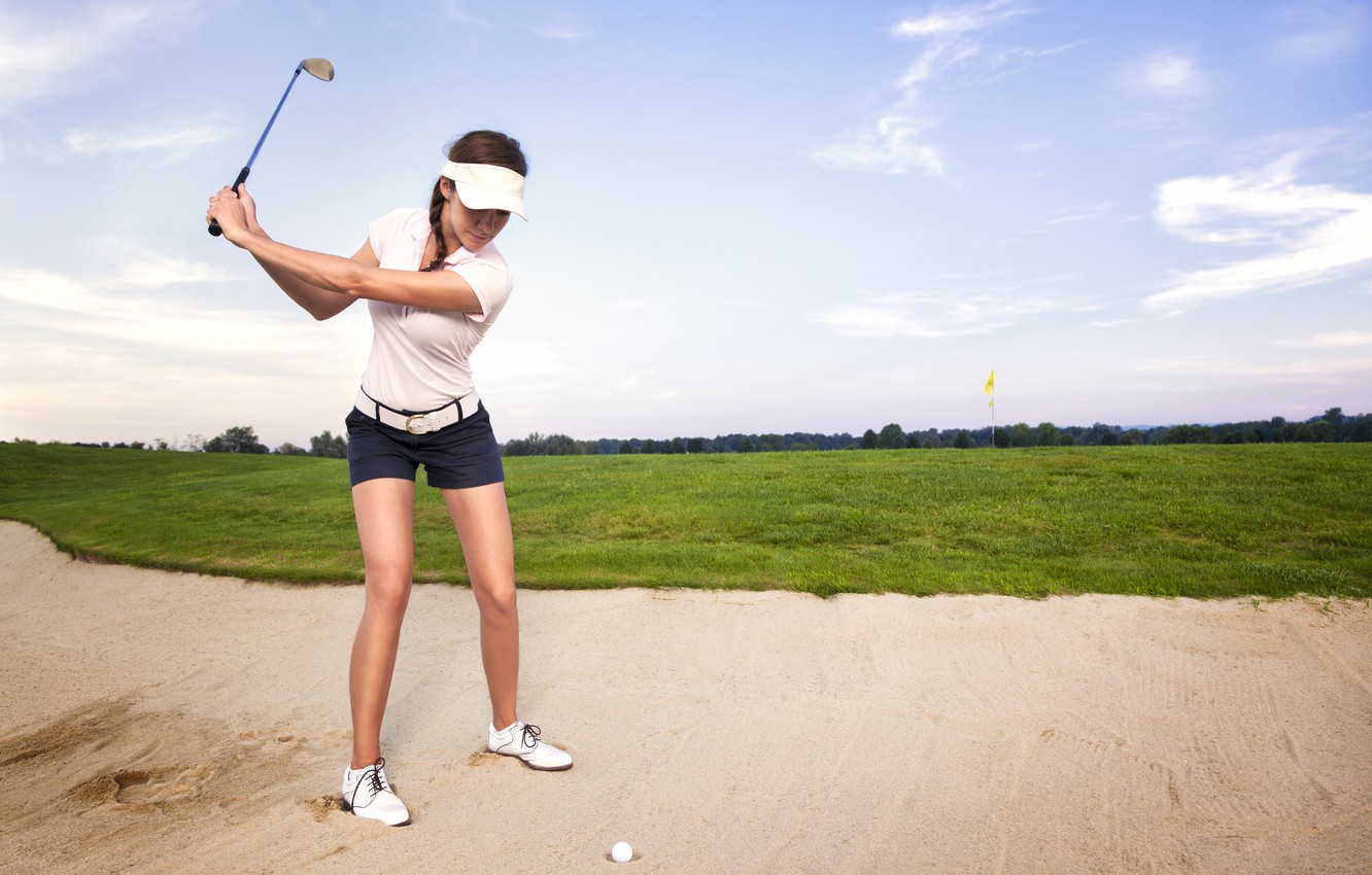 Фото обои golf, sand, ball, female