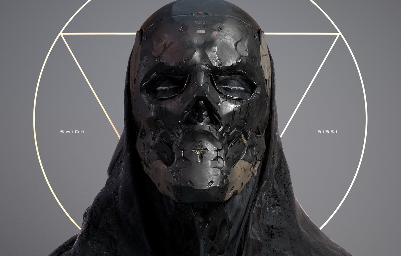 Фото обои маска, skull angle, yin zhen chu