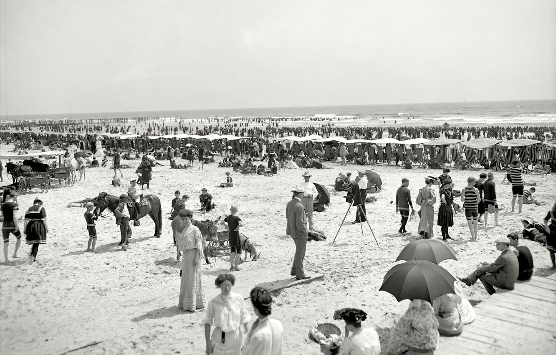 Фото обои море, пляж, ретро, люди, отдых, Флорида, США, выходной