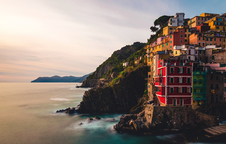 Фото обои sea, Italy, dusk, Riomaggiore, Liguria, cliff