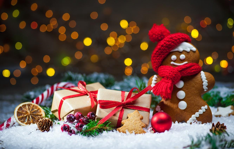 Фото обои Новый Год, Рождество, winter, snow, bokeh, merry christmas, cookies, decoration, gifts, gingerbread