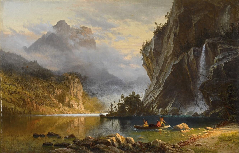 Фото обои пейзаж, природа, арт, Albert Bierstadt, Альберт Бирштадт, Indians Spear Fishing