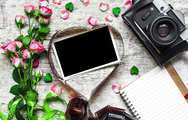 Фото обои цветы, фото, розы, букет, камера, рамка, подарки, сердечки, love, vintage, photo, wood, pink, camera, romantic, …