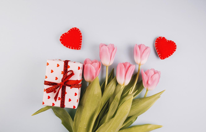 Фото обои цветы, подарок, тюльпаны, love, розовые, fresh, pink, flowers, romantic, hearts, tulips, gift, spring, tender