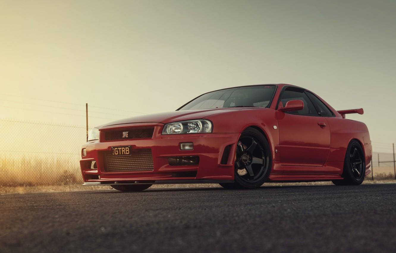 Фото обои GTR, Nissan, R34, RED