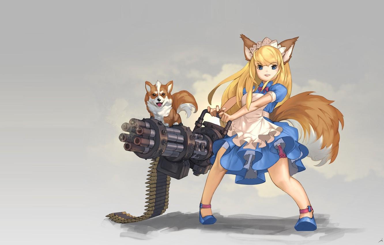 Фото обои оружие, собака, аниме, арт, девочка, ушки, hinew KIM, Gatling Dog!