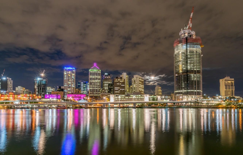 Фото обои ночь, огни, река, небоскребы, Австралия, мегаполис, Брисбен