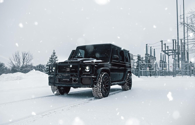 Фото обои Mercedes, Winter, AMG, Black, Snow, G63, W463