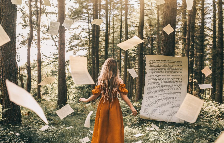 Фото обои лес, девушка, книга, страницы, Adam Bird