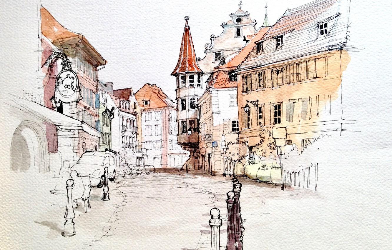 Фото обои город, рисунок, Франция, дома, акварель, Кольмар