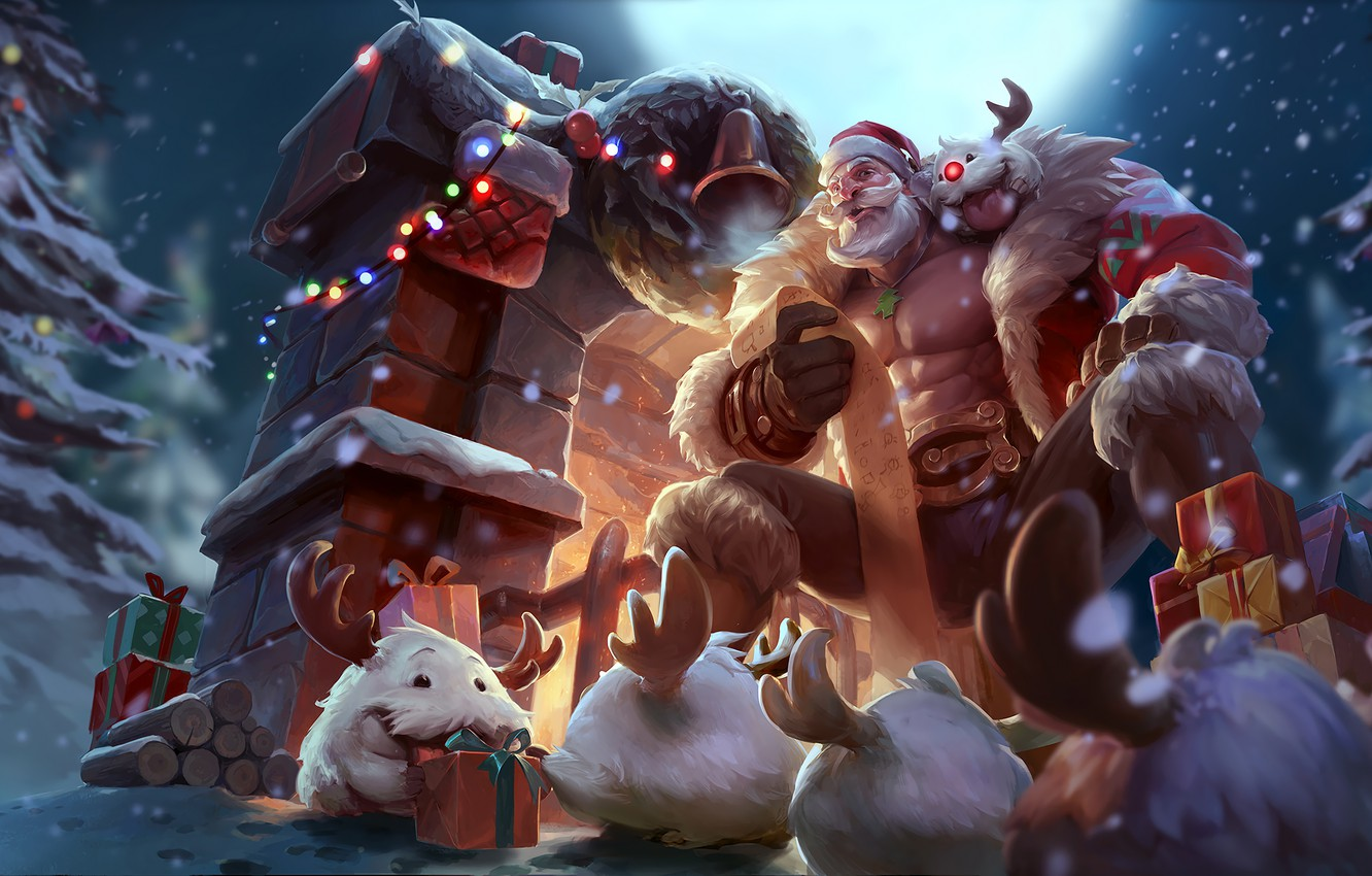 Фото обои санта, lol, League of Legends, santa, braum, браум