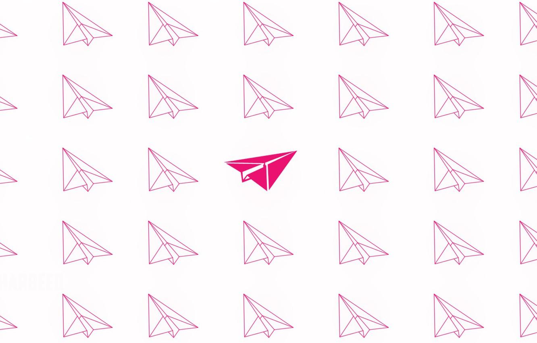 Фото обои розовый, минимализм, летит, minimalism, flying, pink, airplanes, самолетики, Бумажные самолетики, Paper airplanes