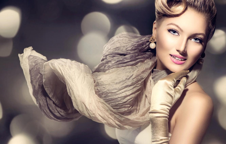 Фото обои девушка, рука, макияж, прическа, блондинка, жест, перчатка