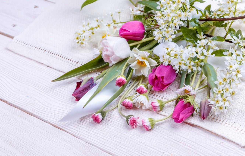 Фото обои цветы, букет, весна, colorful, лента, бутоны, wood, pink, flowers, spring