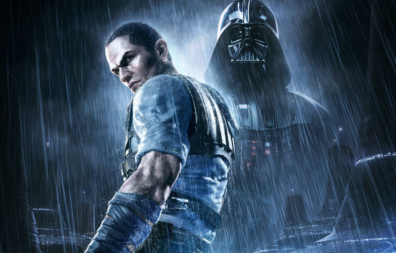 Фото обои Дождь, Darth Vader, Star Wars: The Force Unleashed 2, Game, LucasArts Entertainment, Aspyr Media