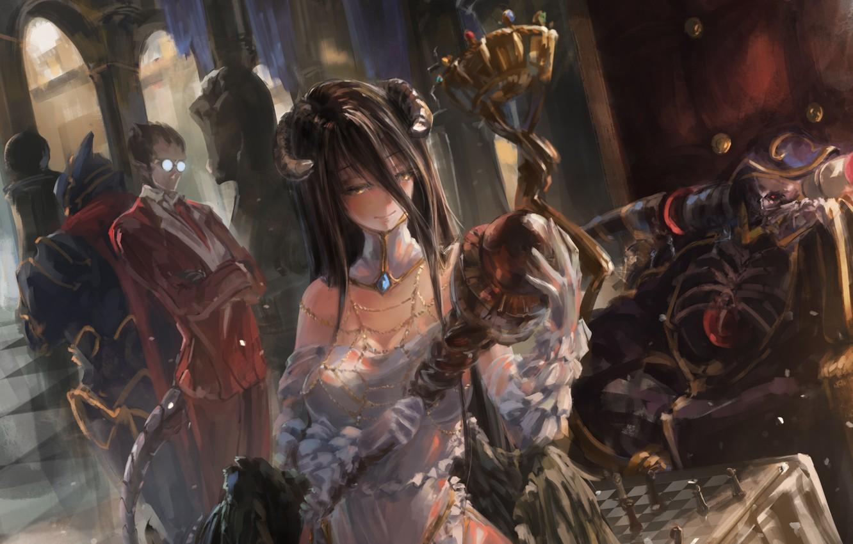 Фото обои девушка, улыбка, крылья, аниме, арт, очки, рога, мужчина, albedo, overlord, song ren, ainz ooal gown, …