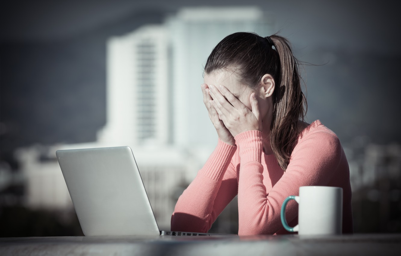 Фото обои woman, work, stress, Tiredness