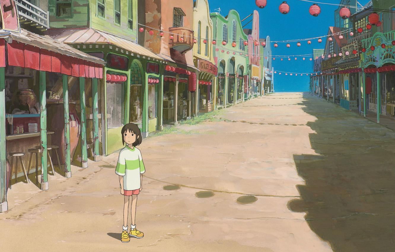 Фото обои дорога, улица, девочка, вывески, фонарики, art, spirited away, унесенные призраками, магазины, голубое небо, chihiro, безлюдный …