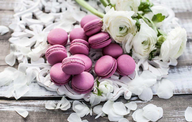 Фото обои цветы, лепестки, сладкое, macaron, букет пионов