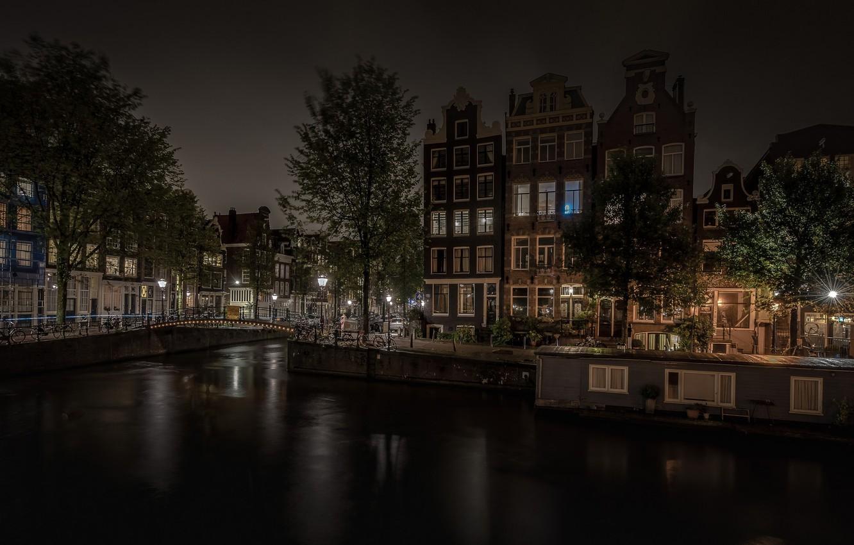 Обои канал, нидерланды, дома, ночь. Города foto 9