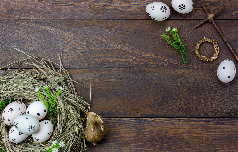 Фото обои цветы, яйца, весна, Пасха, сено, wood, flowers, spring, Easter, eggs, decoration, Happy