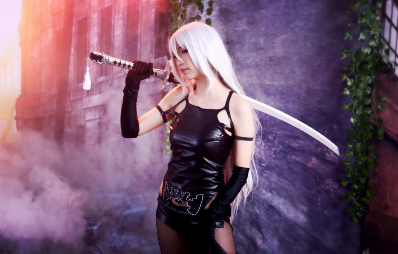 Фото обои меч, катана, фигура, девушкa