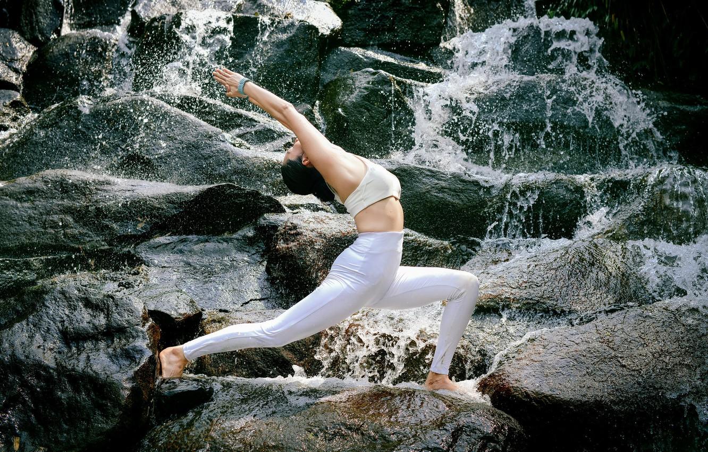 Обои девушка, природа, поза, гимнастика, йога, гармония