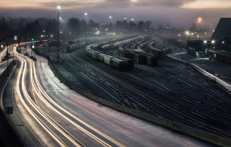 Обои ночь, станция, Железная дорога. Города foto 8