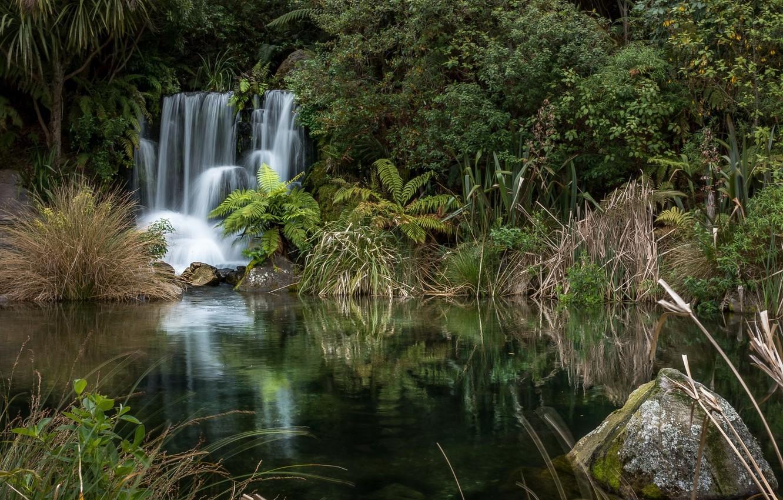 Фото обои природа, озеро, водопад