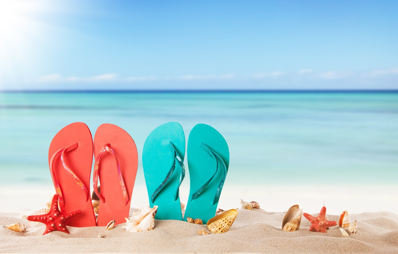 Фото обои песок, море, пляж, лето, солнце, ракушки, summer, beach, каникулы, sand, сланцы, vacation, starfish, seashells