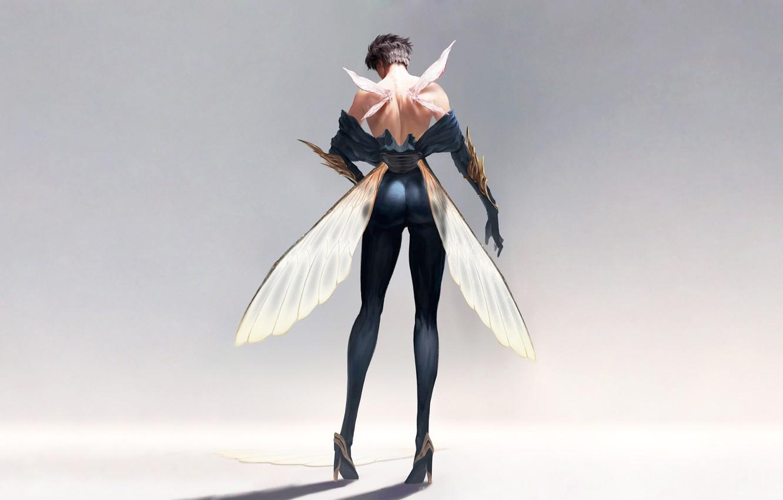 Фото обои попка, спина, Девушка, крылья, стрекоза, Girl, обнаженная, ножки, legs, wings, dragonfly, butt, back, Nude, by …