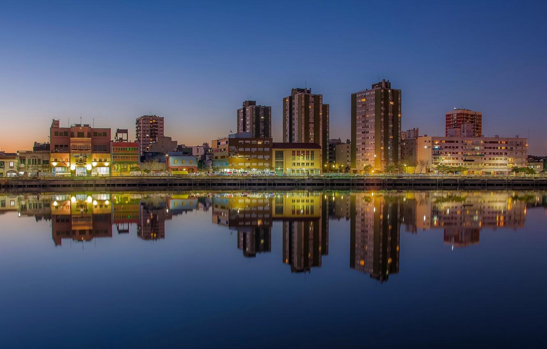 Фото обои twilight, river, sunset, Argentina, dusk, reflection, blue hour, cityscape, Buenos Aires, urban scene, Río de …