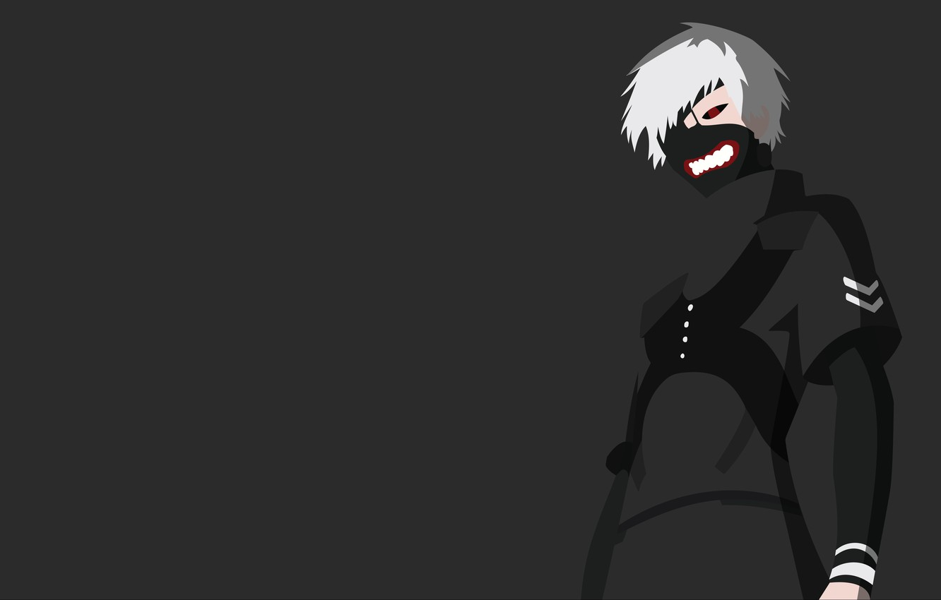 Фото обои minimalism, anime, boy, assassin, asian, manga, japanese, oriental, asiatic, strong, Tokyo Ghoul, Ken Kaneki, hitokiri, …