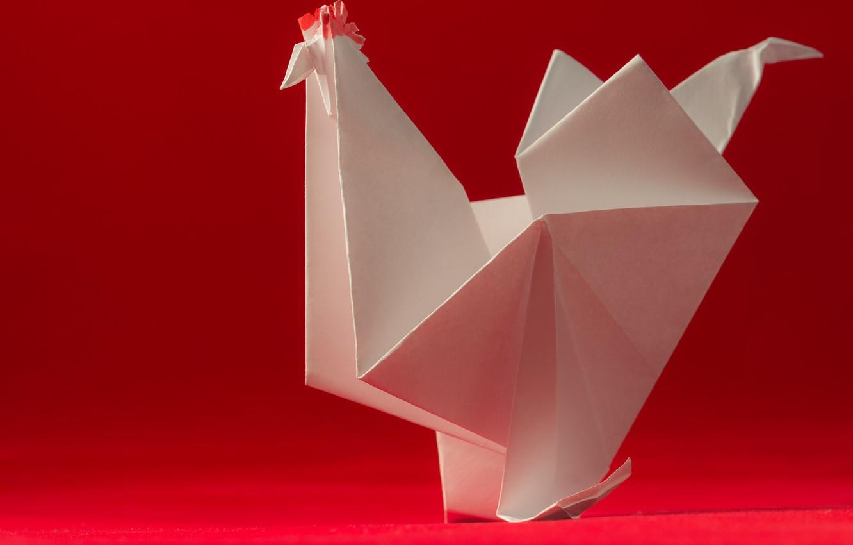 Фото обои бумага, птица, оригами, петух