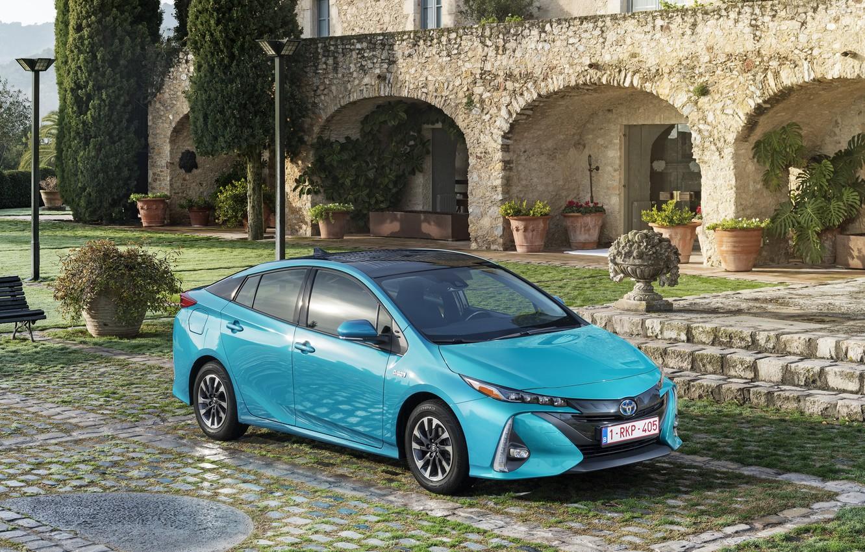 Фото обои Голубой, Toyota, Автомобиль, Hybrid, Prius, Металлик, Plug-in, 2016-17