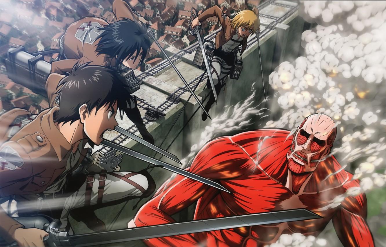 Фото обои стена, дым, нападение, гигант, клинки, art, военная форма, Mikasa Ackerman, Eren Yeager, Атака Титанов, Armin …