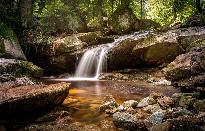 Фото обои осень, лес, вода, река, камни, водопад, hdr, ultra hd, 4k, река в горах, река в …